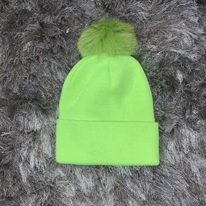 New! BRIGHT Green knitted beanie